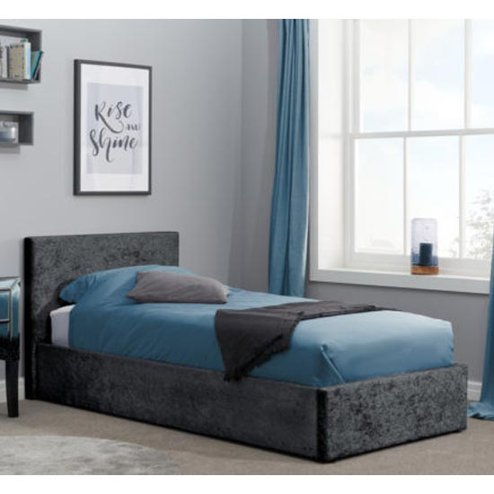 Berlin Fabric Ottoman Single Bed In Black Crushed Velvet