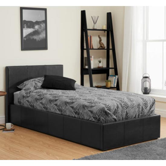 Berlin Fabric Ottoman Single Bed In Black