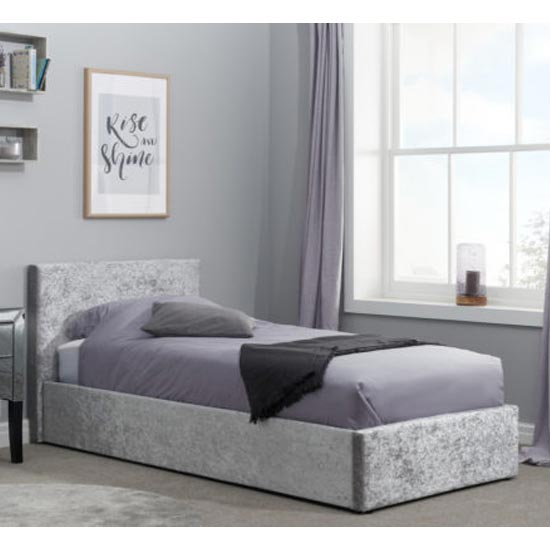 Berlin Fabric Ottoman Single Bed In Steel Crushed Velvet