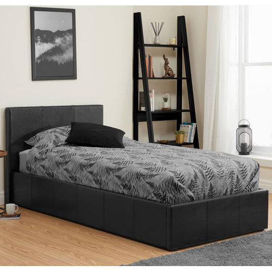 Berlin Fabric Ottoman Small Double Bed In Black