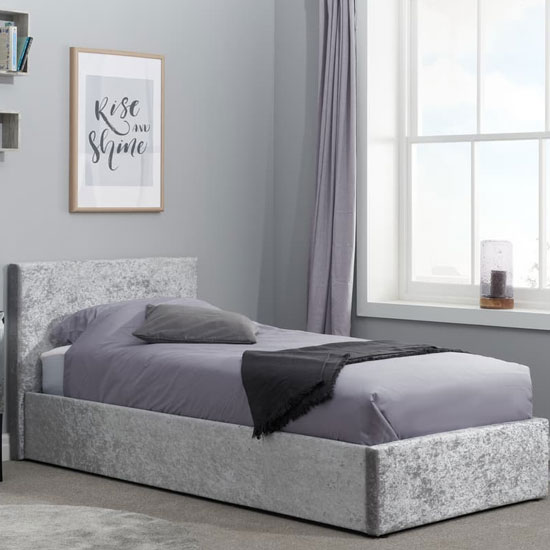 Berlin Fabric Ottoman Small Double Bed In Steel Crushed Velvet_1