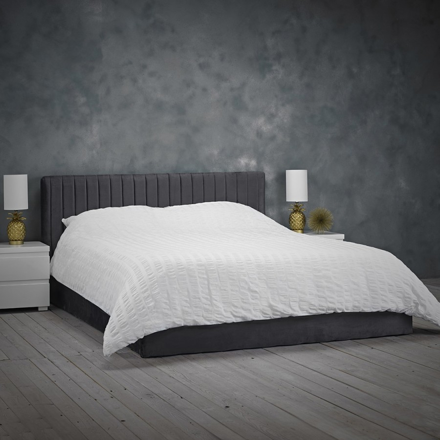 Berlin Velvet Upholstered Double Bed In Silver