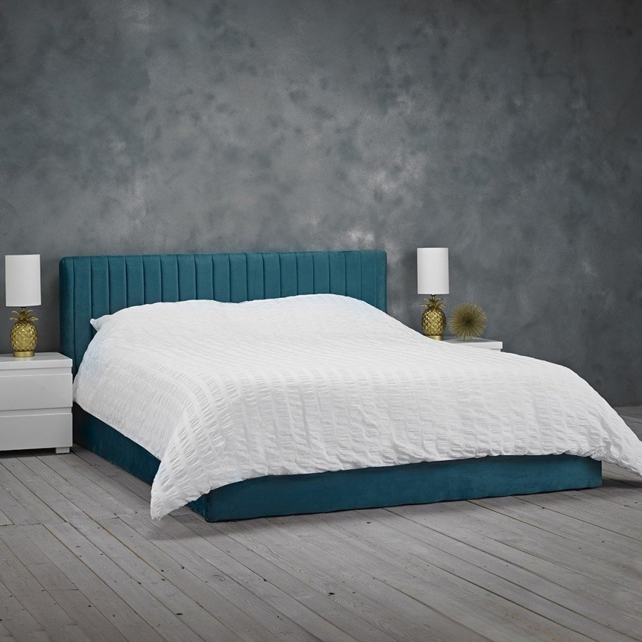 Berlin Velvet Upholstered Small Double Bed In Teal
