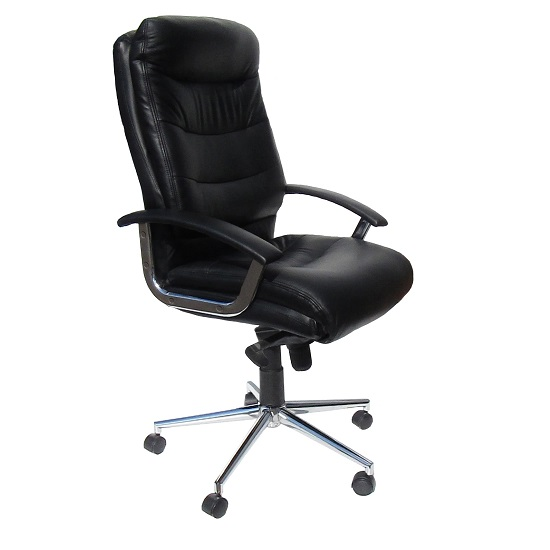 Berlin Home Office Chair In Black Faux Leather With Castors