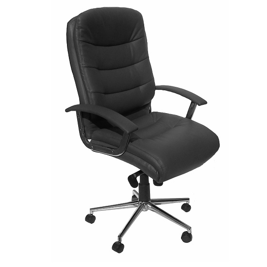 Berlin Home Office Chair In Grey Faux Leather With Castors