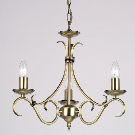 Bernice Wall Hung 3 Pendant Light In Antique Brass