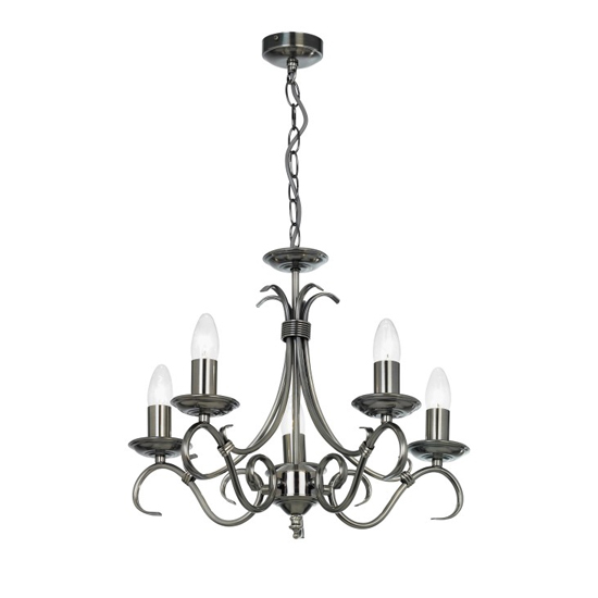 Bernice Wall Hung 5 Pendant Light In Silver