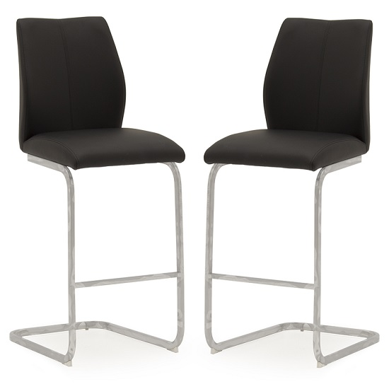 Samara Bar Chair In Black Faux Leather And Chrome Legs In A Pair