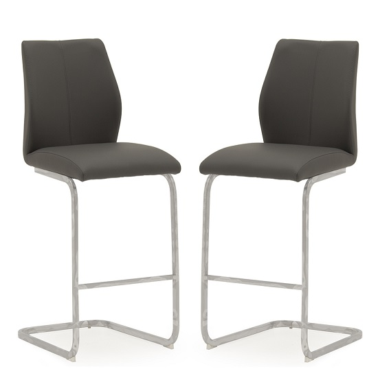 Samara Bar Chair In Grey Faux Leather And Chrome Legs In A Pair