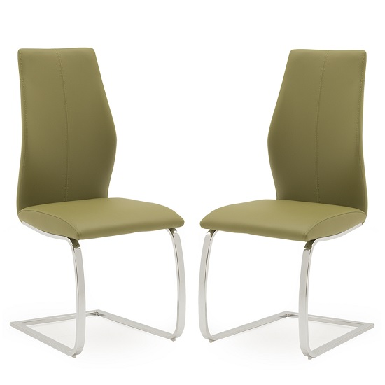 Bernie Dining Chair In Green PU And Chrome Legs In A Pair