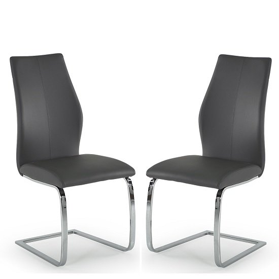 Bernie Dining Chair In Grey PU And Chrome Legs In A Pair