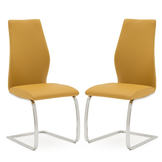 Bernie Dining Chair In Orange PU And Chrome Legs In A Pair