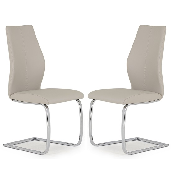 Bernie Bar Chair In Taupe PU And Chrome Legs In A Pair