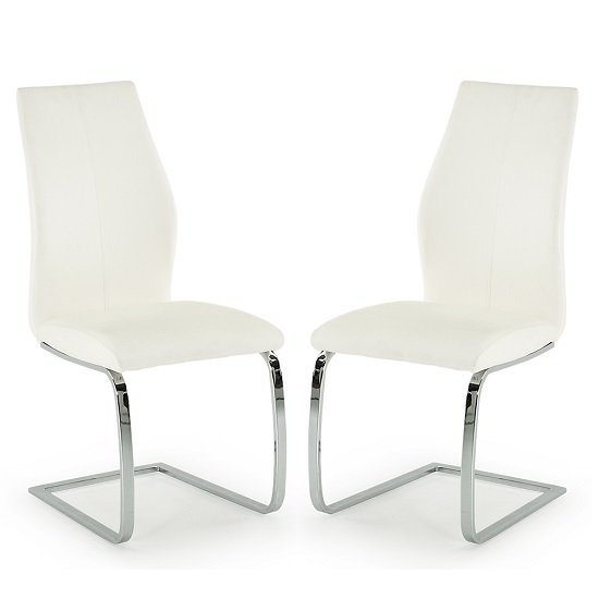 Bernie Dining Chair In White PU And Chrome Legs In A Pair