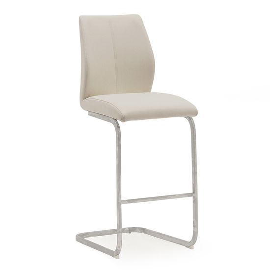 Bernie Faux Leather Bar Chair In Taupe With Chrome Legs