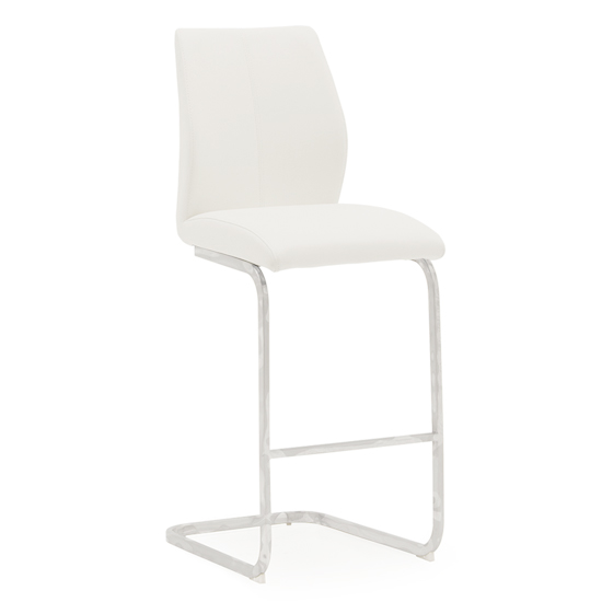 Bernie Faux Leather Bar Chair In White With Chrome Legs