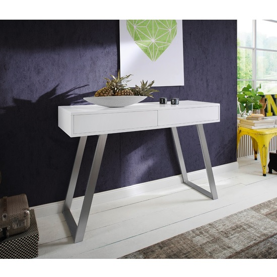 Berry Console Table In Matt White With Brushed Nickel Legs_1