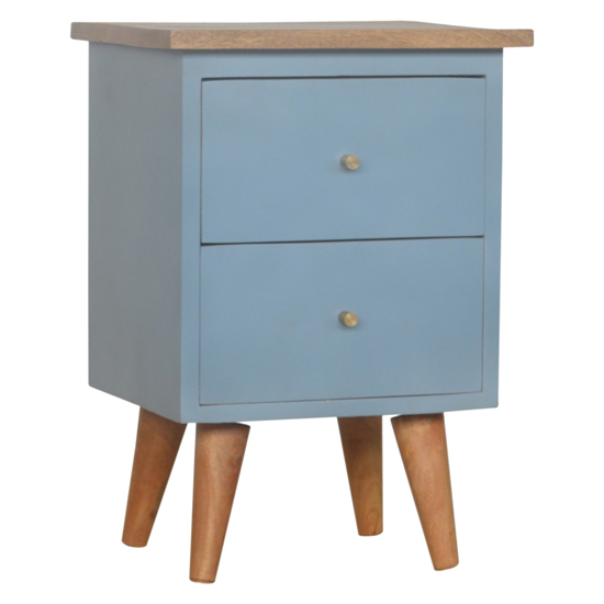 View Berth wooden bedside cabinet in blue hand painted and oak