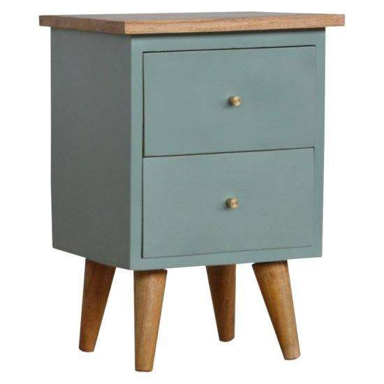 View Berth wooden bedside cabinet in green hand painted and oak
