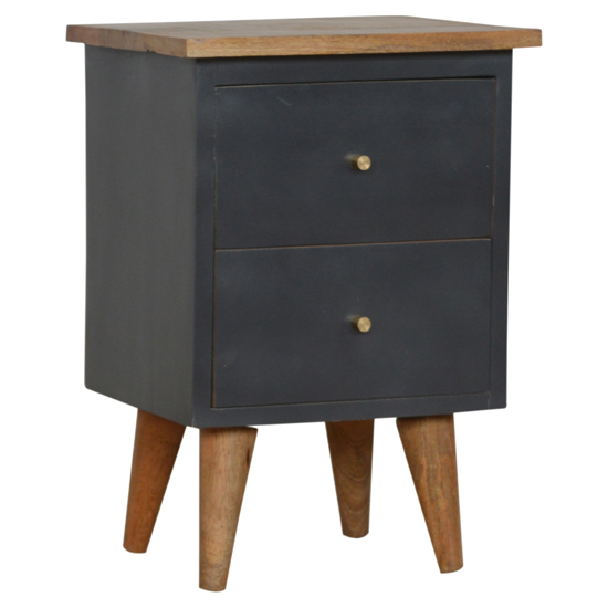 View Berth wooden bedside cabinet in midnight blue painted and oak