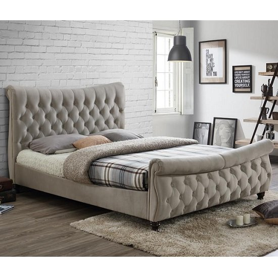Berthold King Size Bed In Warm Stone With Dark Wood Feet_1