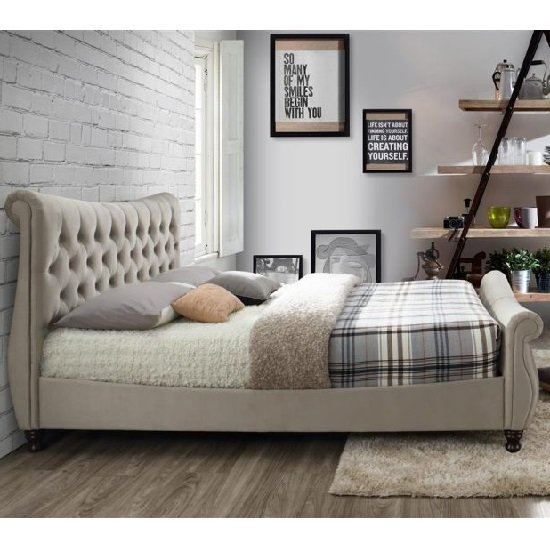 Berthold King Size Bed In Warm Stone With Dark Wood Feet_3