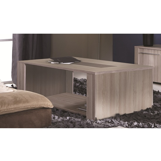 Berwick Wooden Coffee Table In Shannon Oak With Undershelf