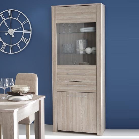 Berwick Glass Display Cabinet In Shannon Oak With 2 Doors