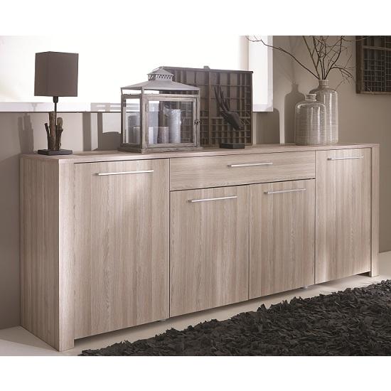 Berwick Wooden Sideboard In Shannon Oak With 4 Doors