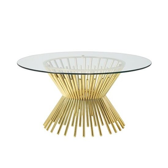 Berwyn Glass Coffee Table Round In Gold Plated Legs