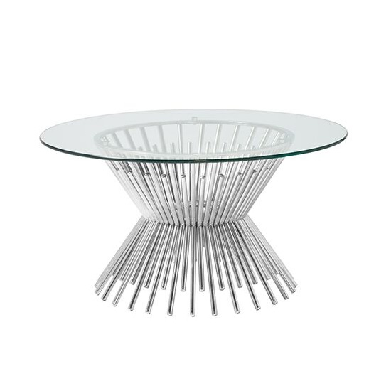 Berwyn Glass Coffee Table Round In Silver Finish Legs_1