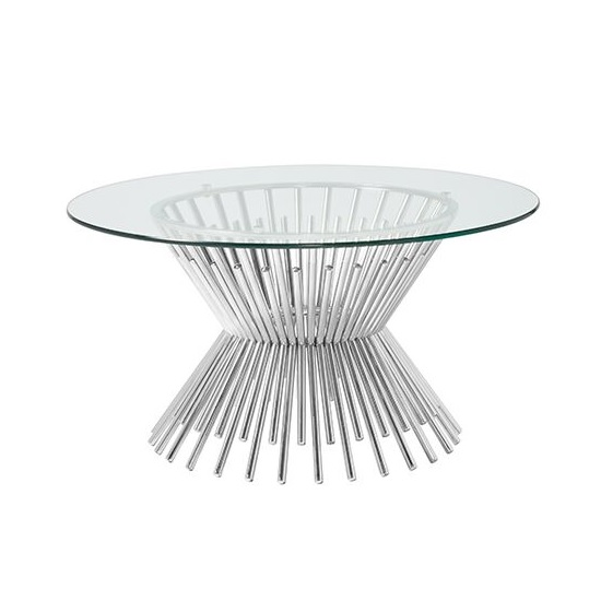 Berwyn Glass Coffee Table Round In Silver Finish Legs_2