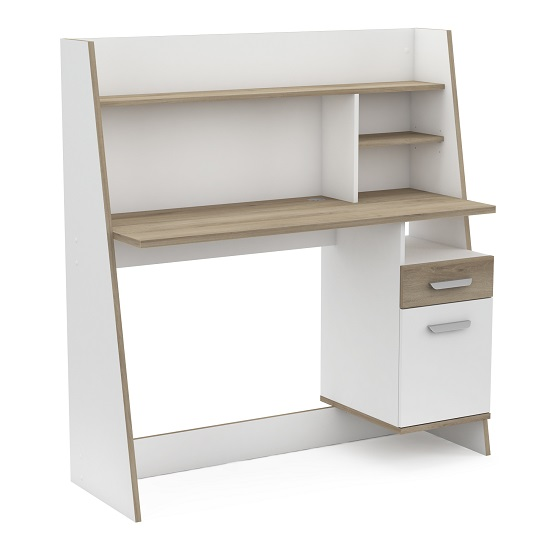 Bestar Wooden Computer Desk In Matt White And Kronberg Oak