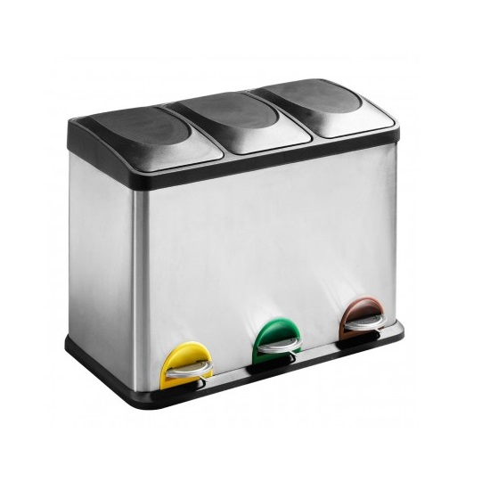 Product photograph showing Beta Stainless Steel Bin In Silver Finish