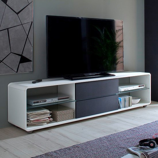 View Bethan modern tv stand in matt white and anthracite