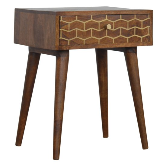 View Bethel gold art pattern bedside cabinet in chestnut with 1 drawer