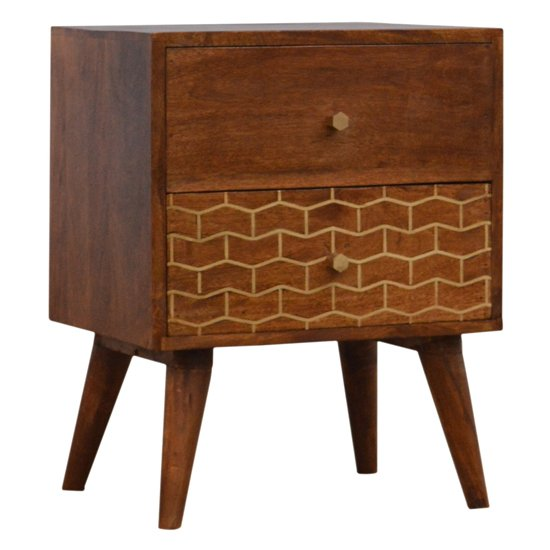 View Bethel gold art pattern bedside cabinet in chestnut with 2 drawers