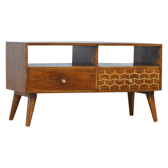 Bethel Gold Art Pattern TV Stand In Chestnut With 2 Drawers