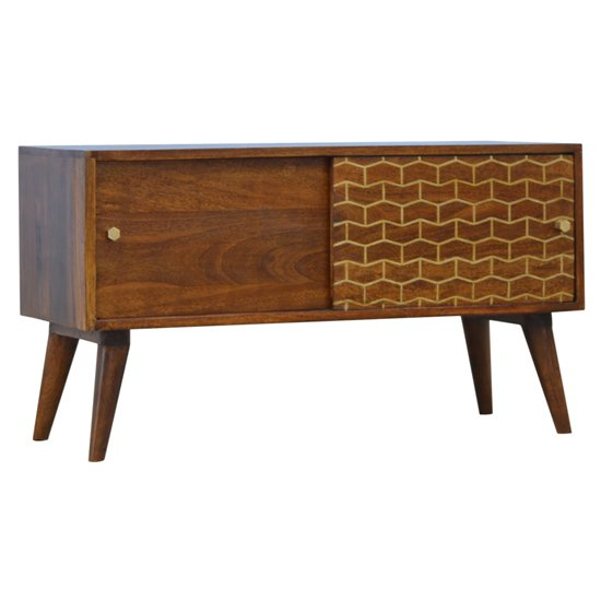 View Bethel wooden gold art pattern tv sideboard in chestnut