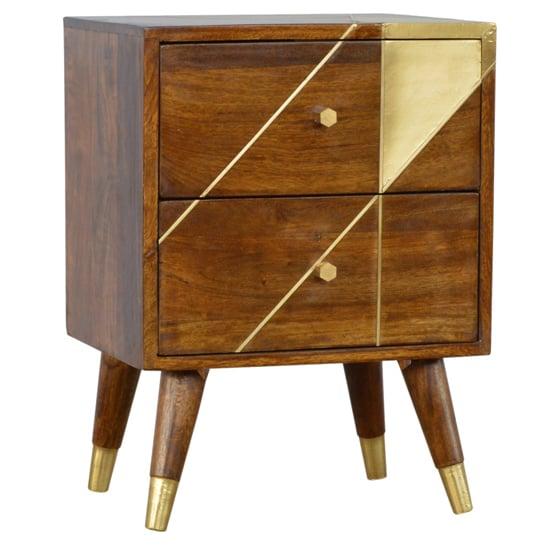 View Bethel wooden gold geometric bedside cabinet in chestnut