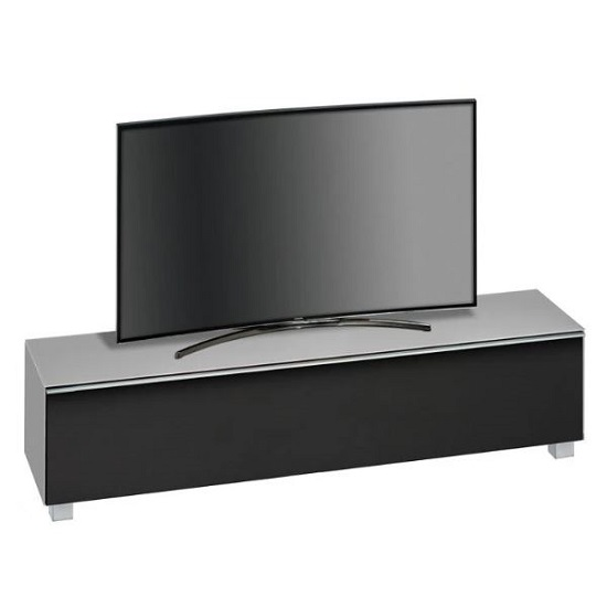 Beton Large TV Stand In Grey Matt Glass And Acoustic Black Fabri