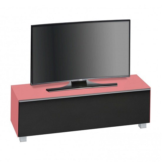 Beton TV Stand In Hibiscus Matt Glass And Acoustic Black Fabric