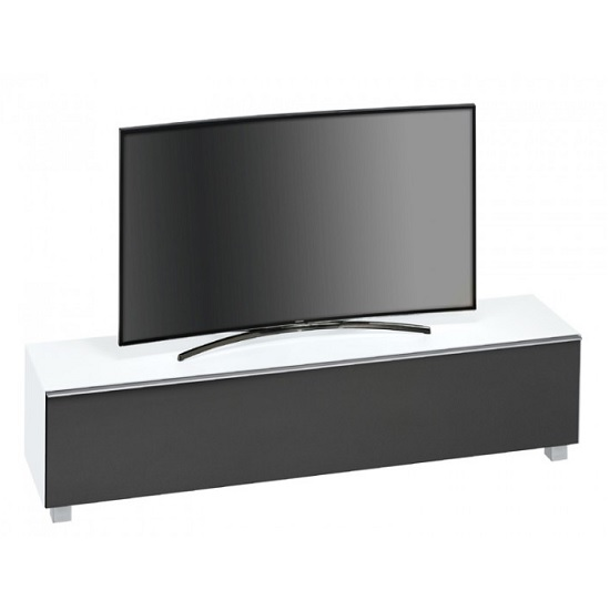 Beton Large TV Stand In White Matt Glass Acoustic Black Fabric