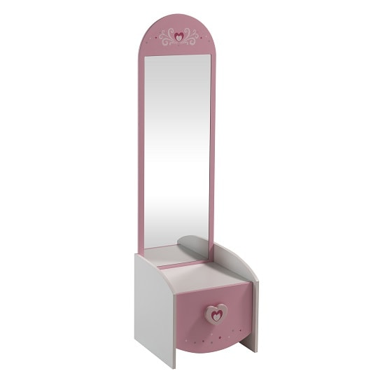 Betsy Dressing Table With Mirror In Pearl White And Pink