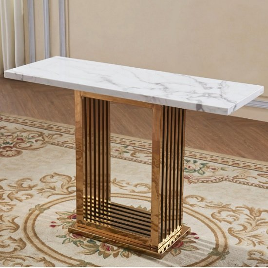 Bettie Marble Effect Console Table In White And Rosegold Finish