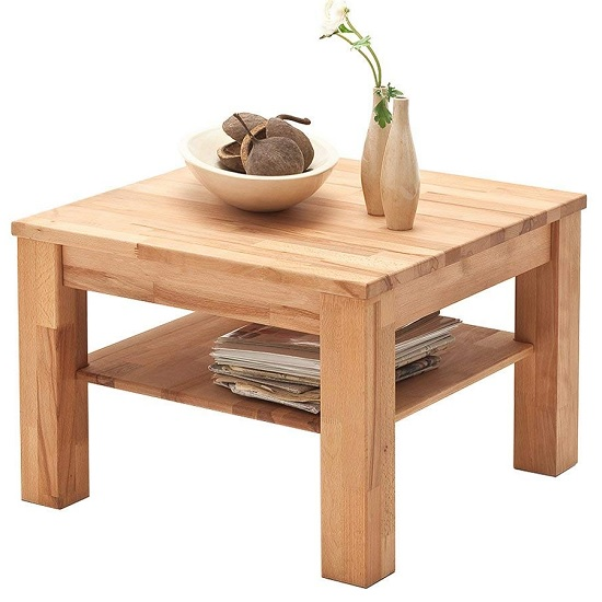 View Bettina wooden coffee table square in beech heartwood
