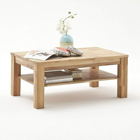 Bettina Wooden Coffee Table Rectangular In Beech Heartwood