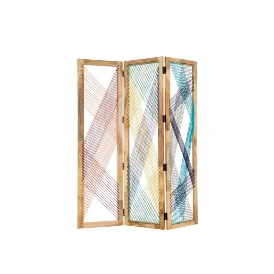 Bettina 3 Sections Room Divider In Multicoloured