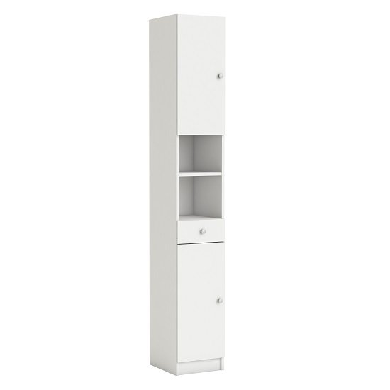 Bettina Tall Bathroom Cabinet In White With 2 Doors