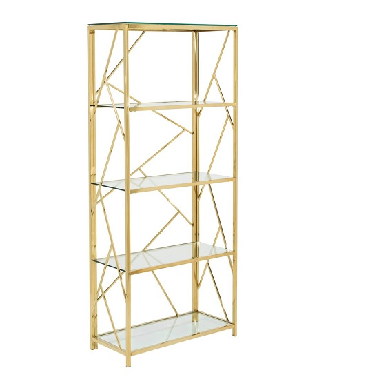 Betty Modern Bookcase In Clear Glass With Gold Frame_1